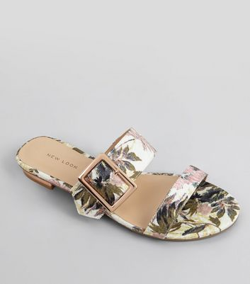 Pink Tropical Print Metal Trim Mules