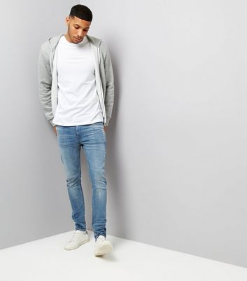 Pale Blue Twisted Seam Skinny Jeans