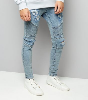 Pale Blue Light Wash Ripped Skinny Stretch Biker Jeans