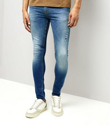 Bright Blue Ripped Super Skinny Stretch Jeans