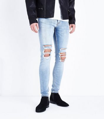 Pale Blue Ripped Knee Super Stretch Skinny Jeans