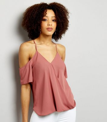 Pink Tie Back Cold Shoulder Wrap Front Top