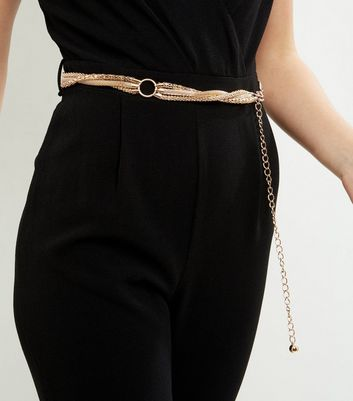 Gold Twisted Chain Waist Belt
