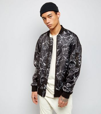Black Crackle Print Oversized Bomber Jacket