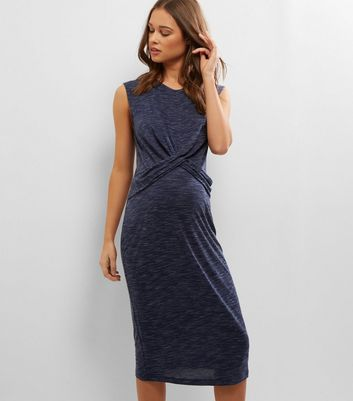 Maternity Navy Cross Front Jersey Midi Dress