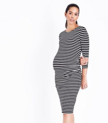 Maternity White Stripe Midi Dress
