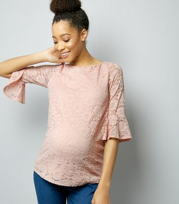 Maternity Shell Pink Lace Bell Sleeve Top