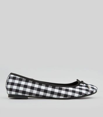 Teens Black Gingham Ballet Pumps