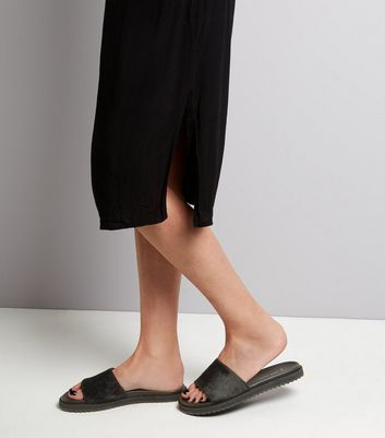 Wide Fit Black Leather Faux Fur Sliders