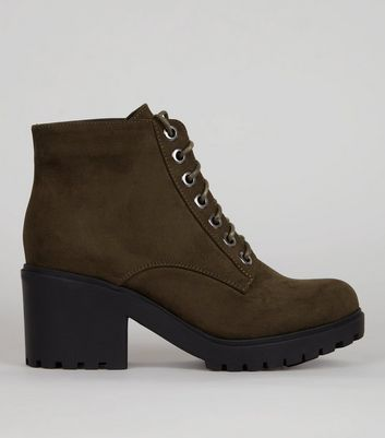 Teens Khaki Lace Up Chunky Boots