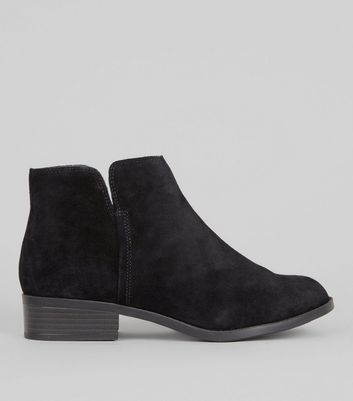 Teens Black Suede Zip Side Ankle Boots