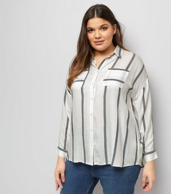 Curves White Stripe Dip Hem Shirt