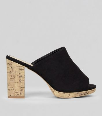 Wide Fit Black Suedette Cork Heeled Mules