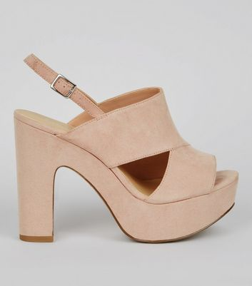 Wide Fit Nude Cut Out Side Platform Heels