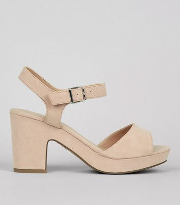 Wide Fit Cream Ankle Strap Heels