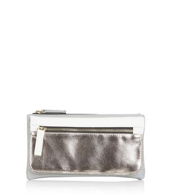Silver Colour Block Fold Over Purse