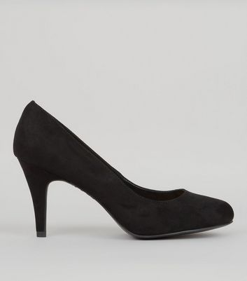 Wide Fit Black Suedette Court Shoes