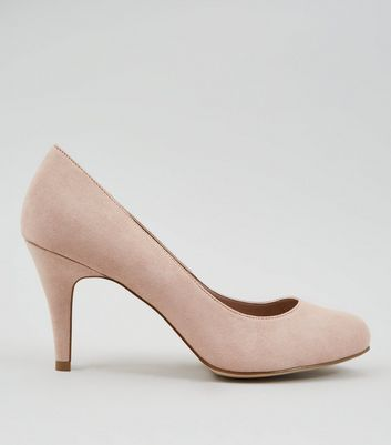 Wide Fit Nude Suedette Court Shoes