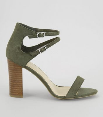 Khaki Double Ankle Strap Heeled Sandals