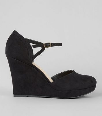 Wide Fit Black Comfort Suedette Platform Wedges Heels
