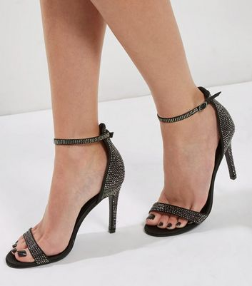 Black Satin Crystal Embellished Heeled Sandals