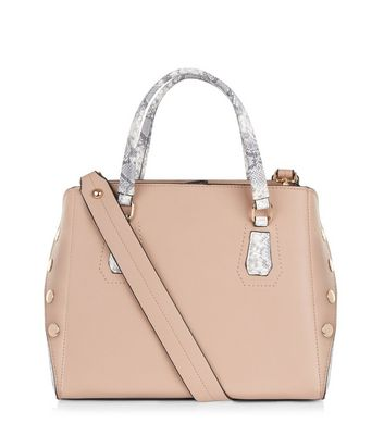 Nude Pink Snakeskin Panel Tote Bag