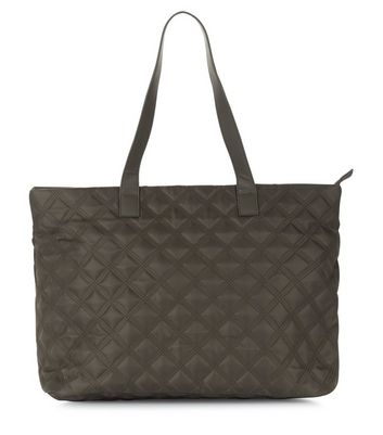 Khaki Quilted Tote Bag