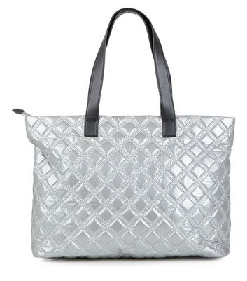 Silver Quilted Tote Bag