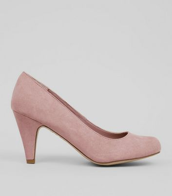 Extra Wide Fit Pink Suedette Court Shoes