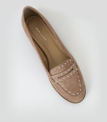 Pink Suedette Studded Loafers