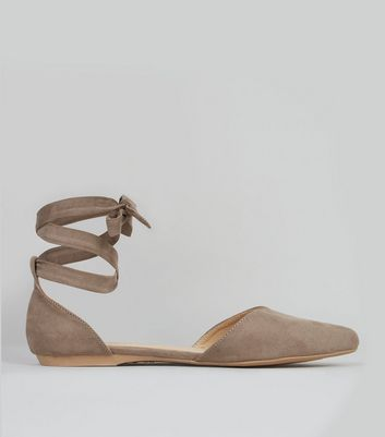 Brown Suedette Ankle Tie Fastening Sandals
