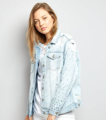 Blue Stud Embellished Denim Jacket