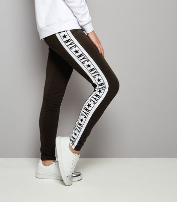 Teens Black Side Stripe NYC Print Leggings