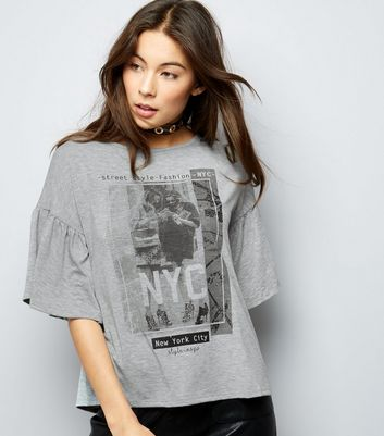 Pale Grey NYC Print Frill Sleeve Top