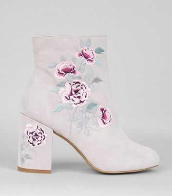 Grey Suedette Floral Embroidered Boots