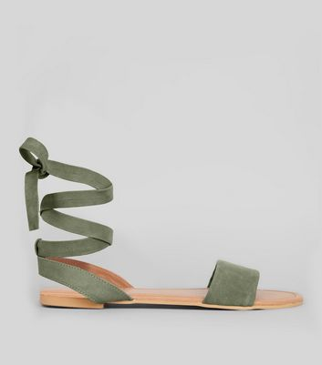 Wide Fit Khaki Leather Ankle Tie Sandals