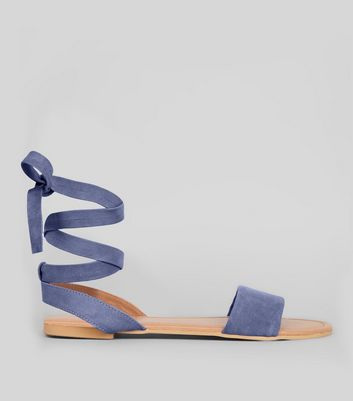 Wide Fit Blue Suede Ankle Tie Sandals