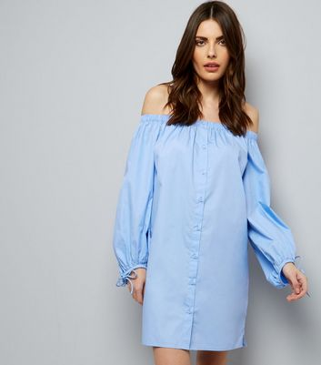 Pale Blue Button Front Bardot Neck Dress