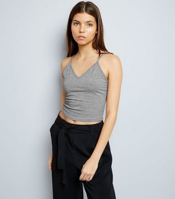 Dark Grey V Neck Cropped Cami Top