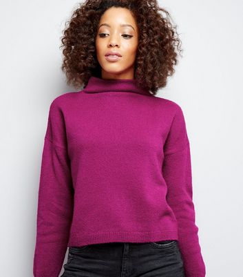 Purple Funnel Neck Cropped Jumper