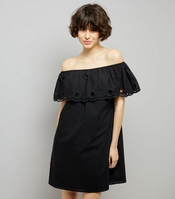 Black Frill Trim Bardot Neck Dress
