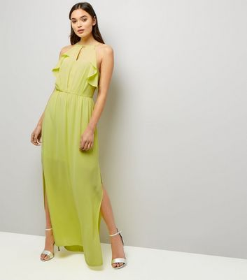 Yellow Frill Trim Keyhole Front Maxi Dress