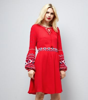 Red Embroidered Trim Smock Dress