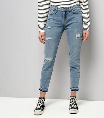 Blue Ripped Drop Hem Relaxed Skinny Leyla Jeans