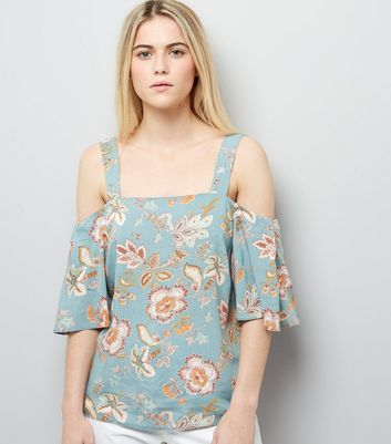 Pale Green Floral Print Cold Shoulder Top