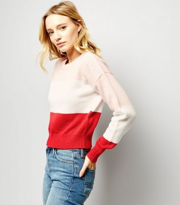 Red Block Stripe Cropped Jumper