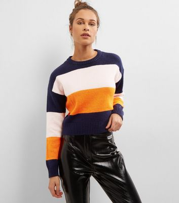 Navy Block Stripe Cropped Jumper