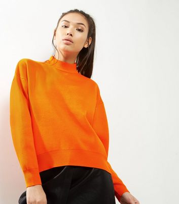 Orange Funnel Neck Sweater