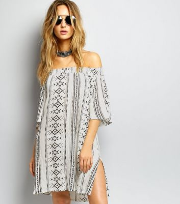 White Aztec Print Bardot Neck Dress