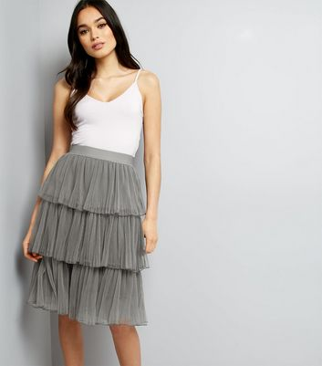 Grey Pleated Tulle Layered Skirt